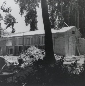 Community hall under construction, 1954.