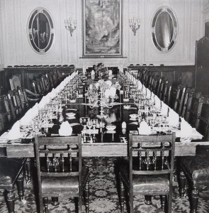 State dining room ready for Churchill's birthday dinner, 1943. during the Tehran conference,