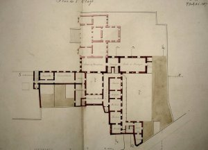 Another 1860s drawing of residence layout, with reception and dining rooms directly accessible from the other formal rooms.
