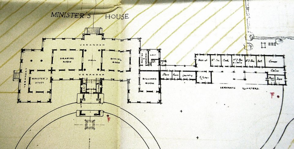 Ground floor plan of minister's house, 1924.