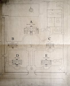 Siteplan as executed, 1924, (with later House letters).