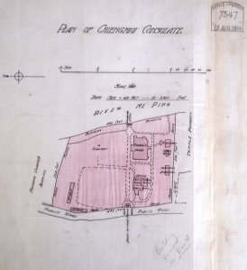 Site plan of consulate (North to the left), 1904.