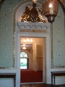 Looking across the State Rooms corridor down to the legation entrance steps, 2005.