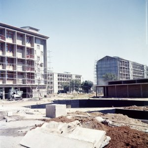 Staff flats block, under construction, 1957.