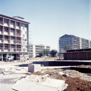 Staff flats block, under construction, 1957.