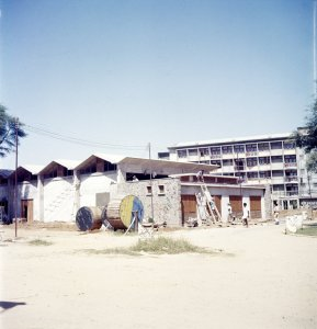 Services building, under construction, 1957.