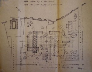 Sketch by Eric Bedford, MoW chief architect, of an idea for developing the Porta Pia site, 1954.