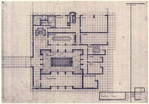 Floor plan of Spence's proposed small residence (to dine 24), February 1971.