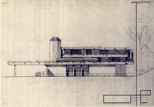Side elevation of the proposed small residence.