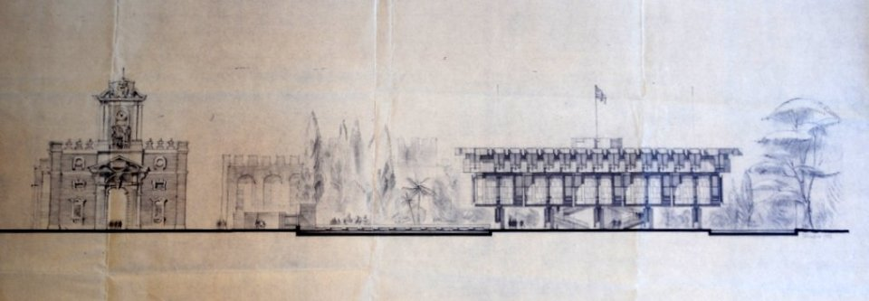 Drawing of south-west elevation, 1962.