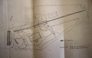 Sketch by Eric Bedford to show where a chancery building might be sited at Villa Wolkonsky, 1954.
