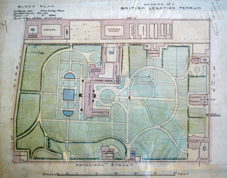 Contemporary drawing of Pierson's layout of the compound and the buildings he constructed.(North is to the right.)