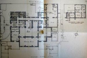 Ground floor plan of residence, 1936.