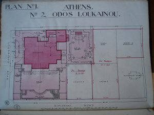 Siteplan of residence and vacant plots, c. 1950.