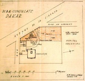 Consulate site plan, c.1925, showing recently acquired sites. (North is to the right.)