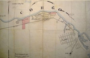 Map of Leopoldville, with consulate site dotted at west end, c.1905.