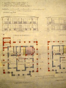 Ground floor plan of consulate house, with proposed new double-height verandas on three sides, 1906.