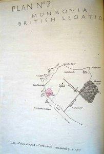 Plan of Mamba Point, showing consular site in pink, 1907.
