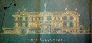 Front elevation of discarded proposal by Adams Broad, 1924.