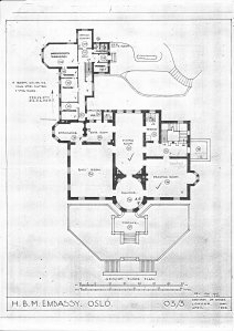 Main floor plan, with Oval Room, and chancery annexe, 1946.