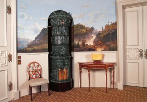 Oval Room, with one of two Swedish stoves, and one of four Eckersberg paintings, 1990s.