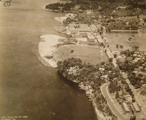 Aerial view, looking north up east bank of Ottawa River , with Earnscliffe in foreground (marked A), 1929.