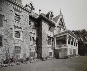 View from north-west of river frontage, with drawing room terrace unenclosed, 1928.