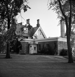 View from north-east, with Macdonald's 1888 dining room extension, 1957.