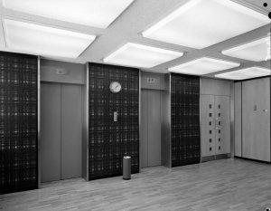 Lifts at entrance, 1964.