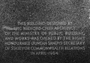 Inauguration plaque, 1964.