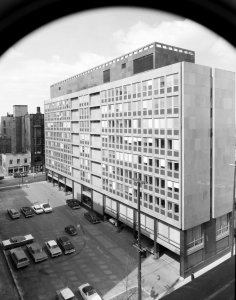 Rear view of offices, with carpark, 1964.
