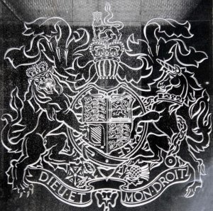 Coat of arms in situ, 1964.