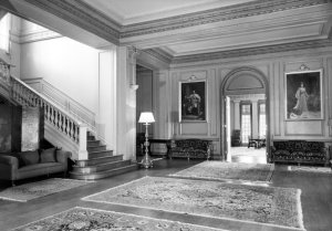 The inner hall, looking towards dining room, 1961.