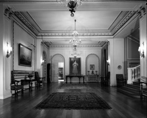 Inner hall, looking towards the study, 1965.