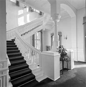Hall, on lower ground floor, and stair to main floor, 1966.
