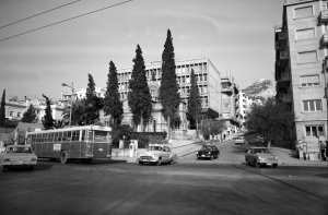 View of offices from south, up Plutarchou Street, with Lycobettus Hill beyond, 1969.