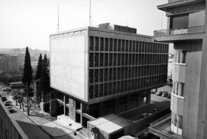 Offices from north-east, with church, 1969.