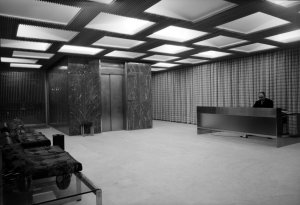 Offices reception area, 1970.