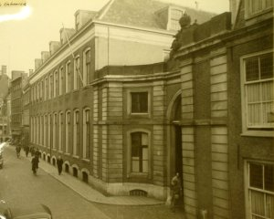 Street facade, with entrance in forefront, 1946.