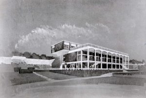 Perspective sketch of proposal by Eric Bedford (by courtesy of Ann Snow), 1963.