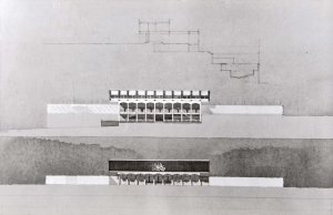Drawing by Eric Bedford (by courtesy of Ann Snow) of section and elevations of proposal, 1963.