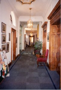 Ground floor offices corridor, 1987.