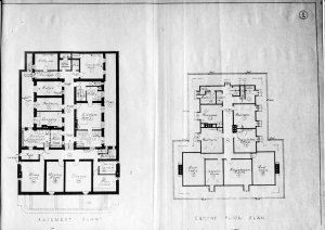 Basement and second floor plans, 1935.