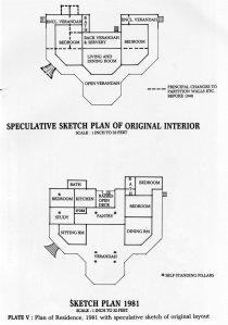 Supposed 1907 floorplan (above) and showing 1953 re-arrangement of veranda (below).