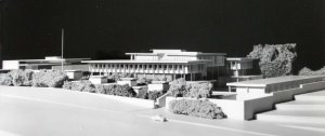Model of offices, from north-west, with residence at left, 1965.