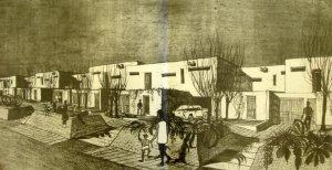 Sketch of proposed junior staff housing, 1965.