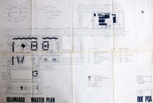 Siteplan of buildings executed and envisaged, 1976.