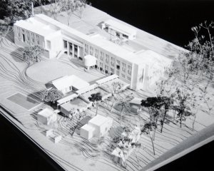 Model, viewed from north, downhill, garden side, 1989.