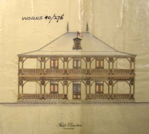 Somewhat fanciful elevation proposed by local architect, 1891.