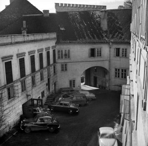 View from terrace over courtyard to gatehouse, 1958.